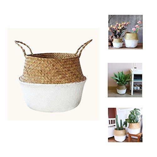 yosposs Woven Bauch Aufbewahrungskorb, Seegras Übertopf mit Griff, Pflanze Blumentöpfe, Home Kitchen Organizer -