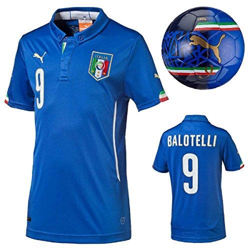Puma FIGC Italien Mario Balotelli Home Kids Trikot Shirt + Italien Ball evoPOWER , Bekleidung:140