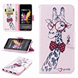 COWX Honor 7x Book Style PU Leather Case Flip Cover Case Wallet Case Cover With PU Leather Case with Soft Silicone Mobile Phone Holder for Huawei Honor/7x Wallet-Style Phone Case Case Giraffe