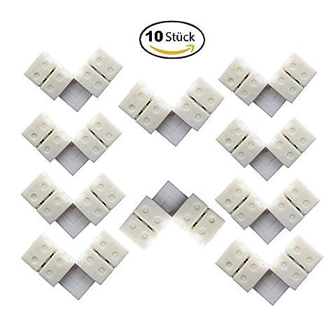 10 pièces/ paquet raccord d'angle 8mm LED, connecteur de forme L- rapide, bande LED, connecteur de bande d'éclairage à LED pour 5050 bandes de LED, bande LED, bande LED [A ++]