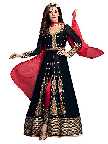 Dress (V.K.Creation new designer fancy dress material for woman indo-Western type floor lenth black colour dresses for women kurtisanarkali dress for women party wear readymade salwar suits for women