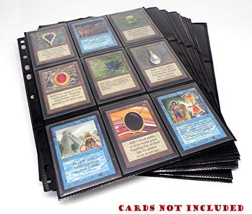 docsmagic.de 100 18-Pocket Pages Black - Toploading - 3-Ring Album Ordnerseiten - Magic: The Gathering - Pokemon - Yu-Gi-Oh! - Schwarz