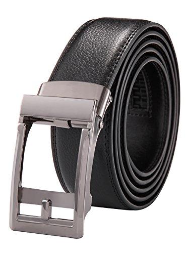 Alice & Elmer cinturón Hombre Cuero Piel Cinturones Negro 135CM(Ajustable) con Automático...