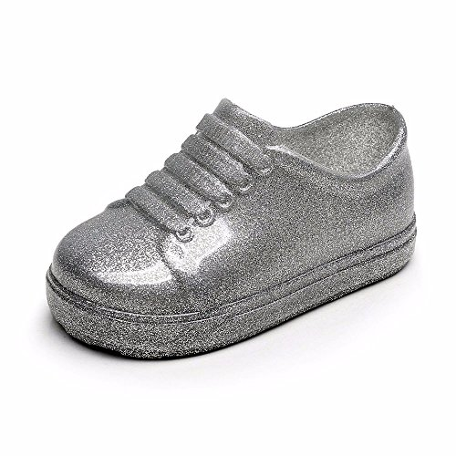 feiXIANG Kleinkind Schuhe Gummi Outdoor Sport Shoes Regenschuhe Wasserdicht Rutschfest Regenstiefel(Silber,24)