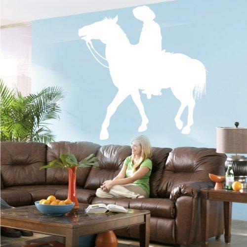 INDIGOS WG20456 Wandtattoo w456 Pferd Rodeo Wandaufkleber, 96 x 94 cm, weiß