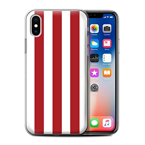 Stuff4 Gel TPU Hülle / Case für Apple iPhone X/10 / Aquamarin/Rot Streifen Muster / Strand Mode Kollektion Rot/Weiß Streifen