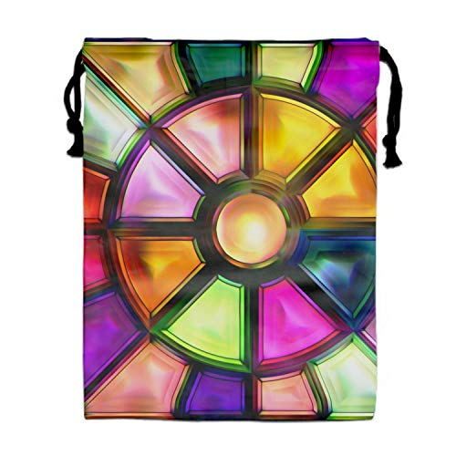 l Stained Glass Print Drawstring Bag for Kids Party Favors Supplies Backpack Gym ()