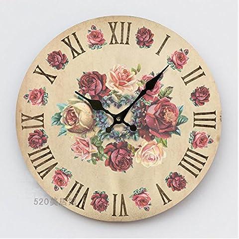 Damjic La Mode De Vie Pastorale Rétro Continental Horloge Murale En Bois Muets G Watch