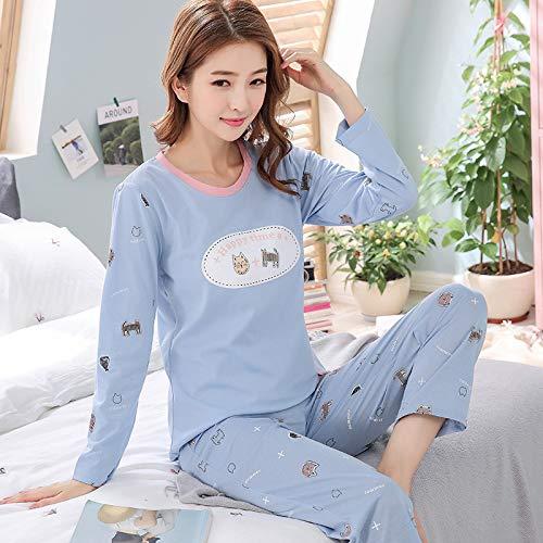 HAOLIEQUAN Frauen-Pyjama-SätzeStricken Baumwollfrische Karikatur-Nette Beiläufige Weiche Nachtwäsche-Herbst-Winter-Neue Art- UndWeisefrauen-Hauptanzug, 9557, M