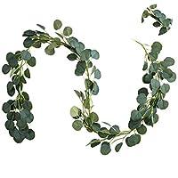 Xelparuc Faux Eucalyptus Garland 6.5FT, 146 Pcs Leaves Christmas Greenery Garland for Wedding Backdrop Centerpiece Decor