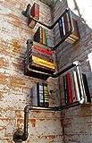 Bücherregal im industriellen Design aus Stahlrohren, verzinkt Dark Silver Grey