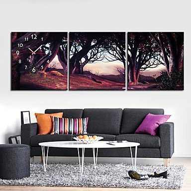 """12\""""-24\"""" Peaceful Forest Wall Clock In Canva 3pcs - low-cost UK light shop."""