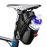otumixx Fahrrad Satteltasche Fahrradtasche Wasserdichte Rahmentasche Satteltasche Fahrrad Tasche Mountainbike Bag mit Rückleuchte und Reflektierende Elemente für Mountainbikes Rennräder - Schwarz