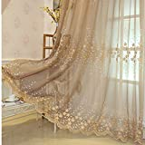 HAOLY Schlafzimmer Vorhang,Wohnzimmer Vorhang,Bestickte Vorhang,Weiße Gaze,Semi-verdunkelung Vorhang,Für Bay-Fenster Balkontür 1pcs-C 200x210cm(79x83inch)