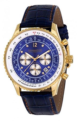 Calvaneo 1583Orologio da polso uomo Defcon Diamond Gold Blue analogico al quarzo in pelle blu 107932