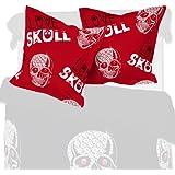 Love Skull (Amor del craneo) - SoulBedroom 2 Fundas de almohada extra, 100% Algodón (50x90 cm)