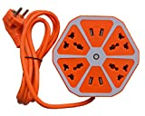 Brick 4 USB Hexagon Extension Socket Orange