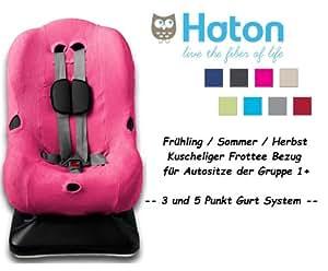 HATON – Housse universelle eponge -- Printemps / Été / Automne -- pour coque bébé, siège auto, par ex. Maxi-Cosi Priori / SPS / XP, Römer King Plus / TS / Duo -- FUCHSIA--