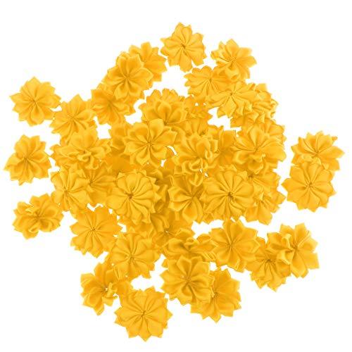non-brand Sharplace Kunstblumen Köpfe 50 Stück Blütenköpfe Künstliche Blumenköpfe Streudeko Verzierung Handwerk DIY Dekoration - Gelb
