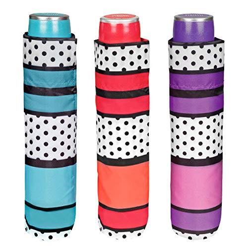 Mini 54/8Man 3Sekte Streifen/Polka Dots Muster Winddicht Regenschirm ()