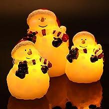 Candele senza fiamma di Natale del pupazzo di neve set di 3, Candela LED di colore cera reale avorio, regali di decorazione per festa di compleanno