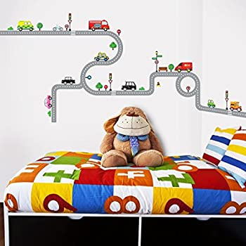 Decowall DW-1204 10 Transports and Roads Kids Wall Stickers Wall Decals Peel and Stick Removable Wall Stickers for Kids Nursery Bedroom Living Room
