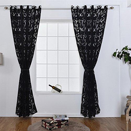 URIJK 100cmx250cm Transparent Gardine Voile Vorhang Blume Muster Dekoschal mit Ösen Fenster Dekoration Schlafenschal für Wohnzimmer Schlafzimmer Studierzimmer (1 Stück) (Schwarz) (Weiße Und Schwarze Blumen-vorhänge)