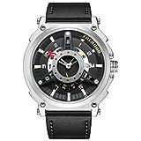 FAERDUO Herren British Style Big Face Uhren Herrenuhr Fashion Casual Sports Einzigartige Design Quarz Armbanduhr mit Echtem Kalbsleder (Schwarz Weiss)