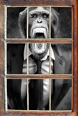 Monocrome, Mad Monkey dans un costumeWindows en 3D regarder, taille sticker mural ou de porte: 92x62cm, stickers muraux, sticker mural, décoration