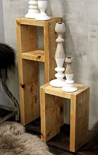 Holz Beistelltisch Hocker Tisch Set natur fertig montiert -