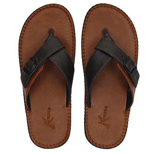 Kraasa Men'S Brown Synthetic Thong Sandals(10)