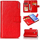 Huawei P8 Lite Case, Huawei P8 Lite Case,Leather Covers Premium PU Leather Wallet Snap Case Leather Covers Leather Covers Flip Case Compatible With Huawei P8 Lite Red