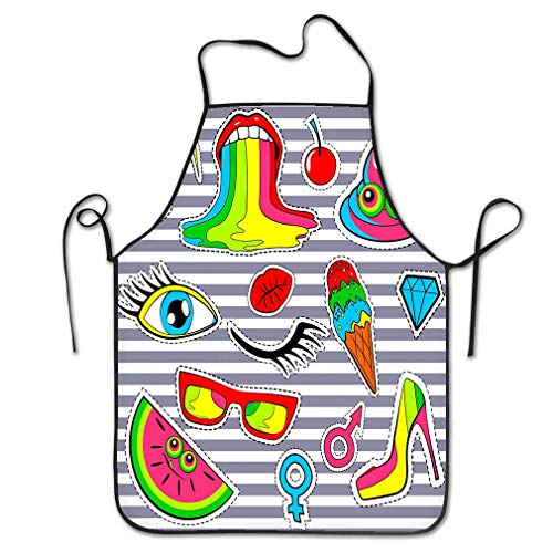 zexuandiy Aprons Bib Unisex Lace Adjustable Polyester 20.4 * 28.3 inch Patch Badges Lips kiss Heart Star Ice Cream Lipstick Eye Shit Rainbow Over Stripes Cute -