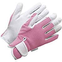 Leather Gardening Gloves - Womens / Mens - Pink or Blue Slim-fit Work Gloves - by Viridescent - Ideal for Garden and Household Tasks, Safe for Pruning Roses. Best Gift Idea!