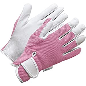 Leather Gardening Gloves - Womens/Mens - Pink or Blue Slim-fit Work Gloves - by Viridescent - Ideal for Garden and Household Tasks, Safe for Pruning Roses. Best Gift Idea!