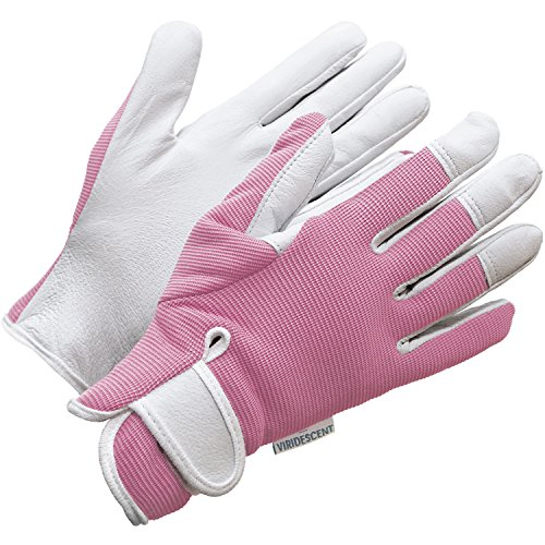 Ladies Leather Gardening Gloves - by Viridescent - Feminine Slim-fit Work Gloves for Women (Medium or Small). Ideal for Garden and Household Tasks, Safe for Pruning Roses! Best Gift Idea for Gardeners