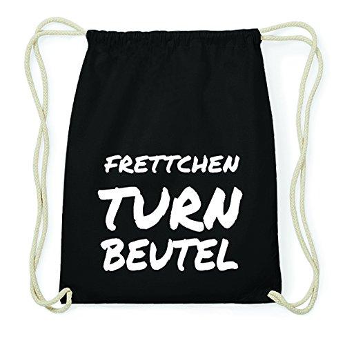 JOllify Frettchen Hipster Turnbeutel Tasche Rucksack aus Baumwolle - Farbe: schwarz – Design: Turnbeutel - Farbe: schwarz