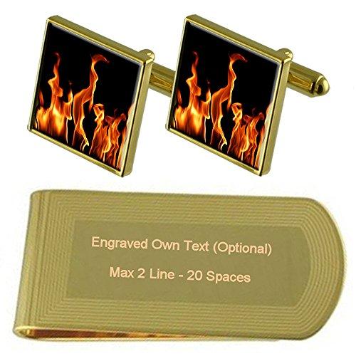 Select Gifts Flammen der Brand Gold-Manschettenknöpfe Geldscheinklammer Gravur Geschenkset Flamme Chip