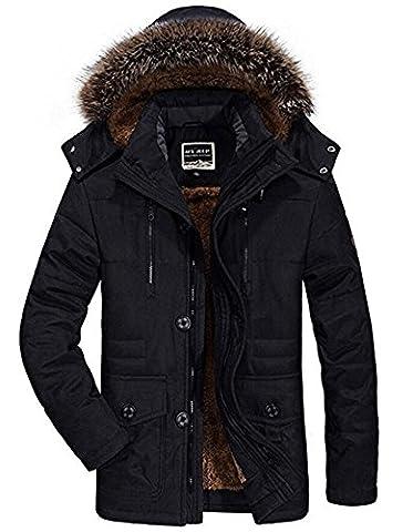 Mens Parka Coats with Fur Hood Field Jacket Fleece Winter Warm Coat Outdoor Casual Thicken High