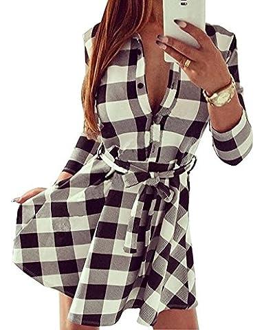 Tomwell Femme Tunique Robe Chemisier à Carreaux Vintage Manches 3/4 Casual Shirt Chemise Robe Automne Blanc FR 36