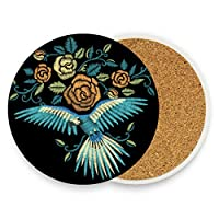 Embroidery Blue Bird Flowers Round Absorbent Ceramic Stone Drinks Coasters Coffee Cup Mat Sets for Home Office Bar Kitchen (Set of 1)