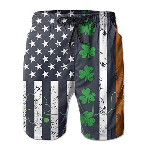 Jieaiuoo Men's Novelty Beachwear Swimtrunks Clover US Flag Running Athletic Beach Summer with Pockets XL -
