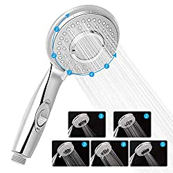 Shower head, Zorara shower head pressure increasing 5 modes shower head with on / off switch, universal shower head 200% high pressure chrome shower head water saving 40%