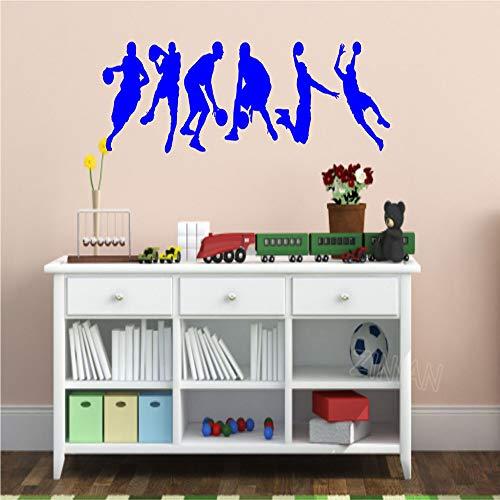 Dongwall Set von 6 Sport Silhouette Wandtattoo Basketball Action Home Decoration Wohnzimmer Vinyl Wandaufkleber Schlafzimmer Kunst Poster 1 108X30 cm -