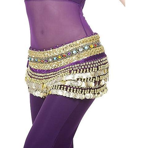UY&UY dancewear desempeño poliéster 248 monedas de danza del vientre cinturón para damas más colores , fuchsia