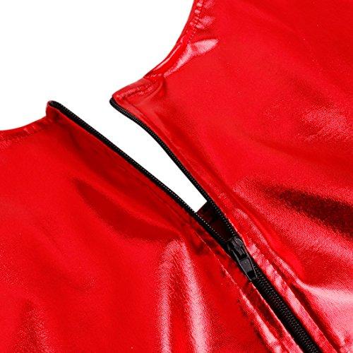 iEFiEL Body Damen Langarm Body Wetlook Zip Body Bodysuit Rundhals Wetlook Dessous Unterwäsche Rot
