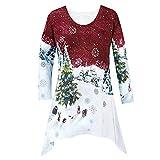 Weihnachten Pullover Langarmshirt Heligen Damenmode Weihnachten Hemd Tunika Waldland Winter Szene Bluse Baggy Jumper Lose Top Oversized T-Shirt Winterpullover