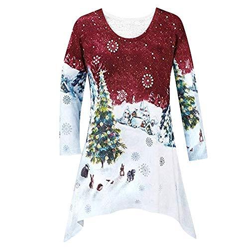 OverDose Damen Stil Frauen Weihnachten Outdoor Schnee Karneval Dünnes Hemd Tunika Woodland Winter Szene Bluse Pullover