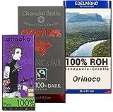3 Tafeln 100% Kakao Edel-schokolade, Bio: Schweizer Stella. Zotter Labooko Peru. Edelmond Orinoco. In der Geschenk Box