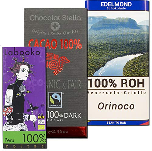 3 Tafeln 100{fd343ff8a2cc7ddf6cb72054909d923fbea2a0e1a1fada13859925a72717d16c} Kakao Edel-schokolade, Bio: Schweizer Stella. Zotter Labooko Peru. Edelmond Orinoco. In der Geschenk Box